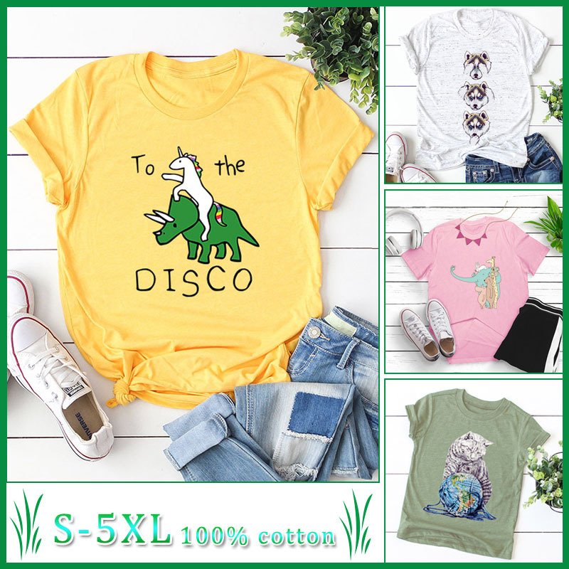 Cute cartoon elephant unicorn dog cat animal popular top round neck short sleeve T-shirt wholesale NSSN1859