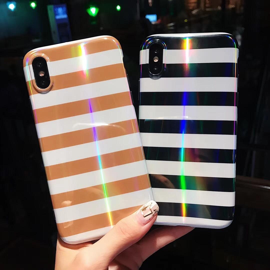 Net red with simple black and white stripes iphone7 plus mobile phone shell Apple 8/6s protective cover soft shell female models