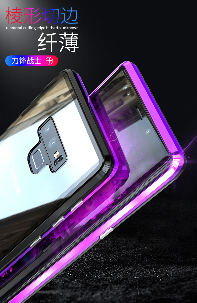 GINMIC Magneto Sword Magnetic Absorption Aluminum Metal Bumper Tempered Glass Back Cover Case for Samsung Galaxy Note 9