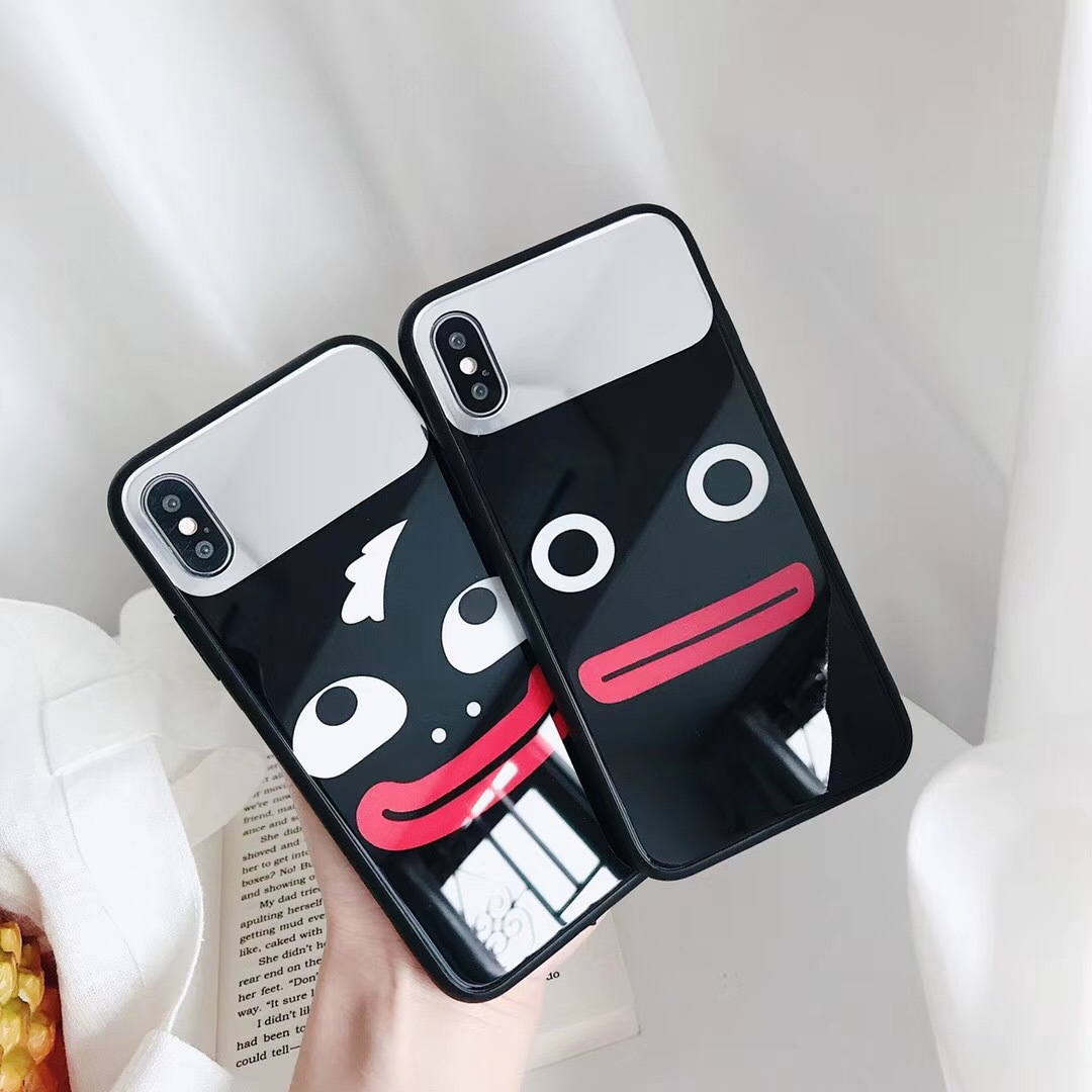 Sausage mouth iphone8plus mobile phone shell Apple 6s glossy soft edge i7 generation all-inclusive anti-fall X mirror protection sleeve