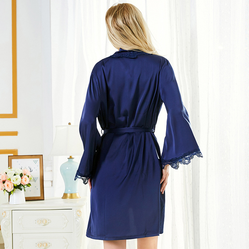 Embroidered lace sexy suspender robe two-piece suit ladies new open strap nightdress NHMR204766