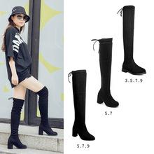 Giày cao quá gối nữ 5050 tăng chiều cao vô hình tăng thời trang cho đôi giày cao gót co giãn trong đôi giày cao gót dày với đôi bốt dài Giày cao
