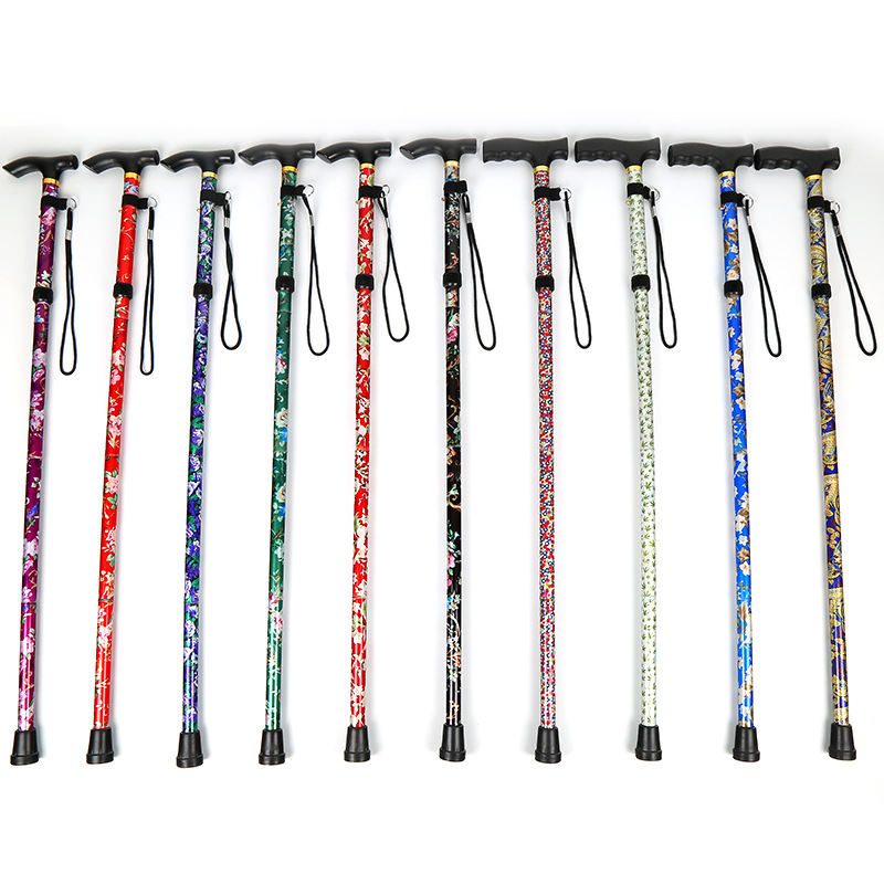 Ultra light folding outdoor trekking poles printing old telescopic straight handle cane hiking mountain old walking stick wholesale