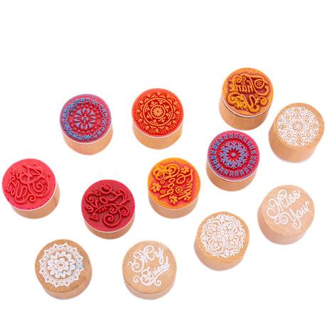 Sáng tạo tròn bằng gỗ cổ điển con dấu sáng tạo tài liệu tay tem tự làm bưu thiếp