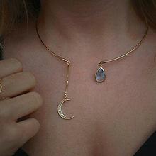 欧美外贸时尚饰品批发 简单大方镶钻月亮水滴女士短款项链项圈