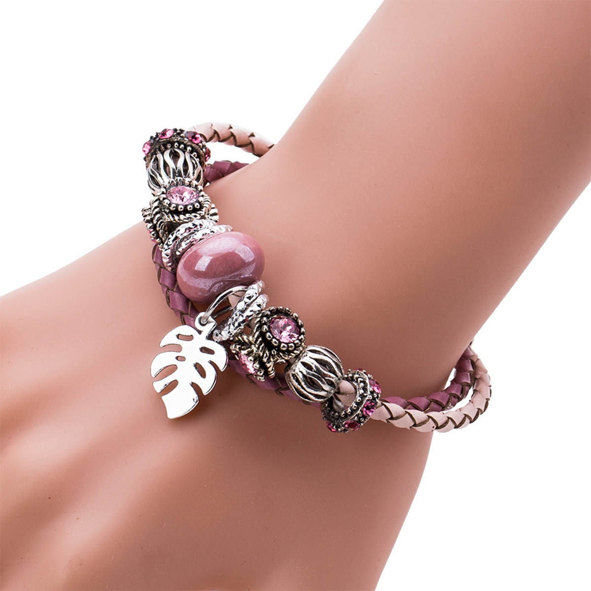 Leather Fashion Geometric bracelet(Pink) NHJE1210-Pink