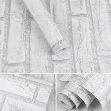 白砖墙纸自粘文化砖头客厅服装店壁纸北欧风格白色砖纹3D立体砖块