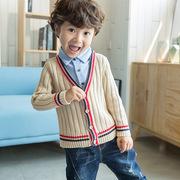 2018儿童毛衣秋冬新品中小童男女宝宝韩版假两件衬衫领毛线上衣,