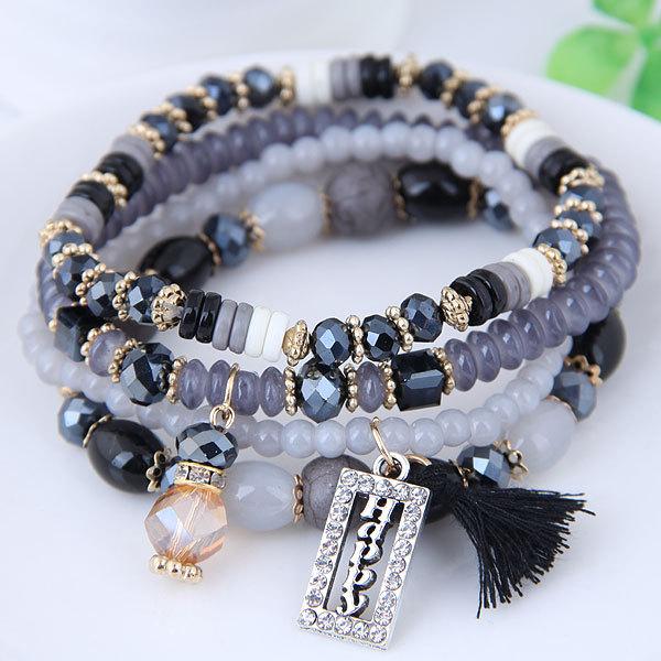 B1101欧美水晶珠 时尚女士 多层 手链 手镯饰品