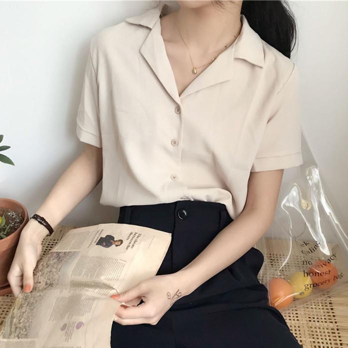 2021夏季韩版气质百搭西装领雪纺短袖衬衫上衣纯色衬衣学生女装潮