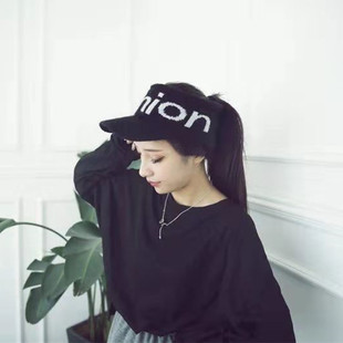New autumn and winter knitted letters rabbit fur hat ladies fashion all-match empty top hat plus velvet thick warm cap