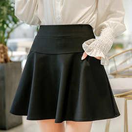 春秋新款防走光短裙高腰弹力半身裙修身A字太阳裙女口袋黑裙子