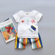 2018夏季新款中小童韓版卡通純棉短袖短褲兩件套男女兒童休閑夏裝