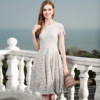 Heavy lace dress female 2018 new spring ladies temperament take the waist and put back skirt 3283