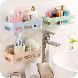 北欧素色无痕粘贴长方形置物架 洗漱用品储物架浴室洗手间架子
