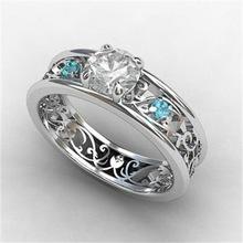 欧美风潮人低调奢华高贵925银镶嵌蓝宝石复古新娘女款戒指饰品