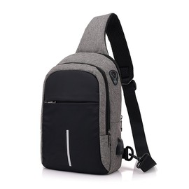 New men's trend casual chest bag fashion simple shoulder Messenger bag USB charging chest small backpack