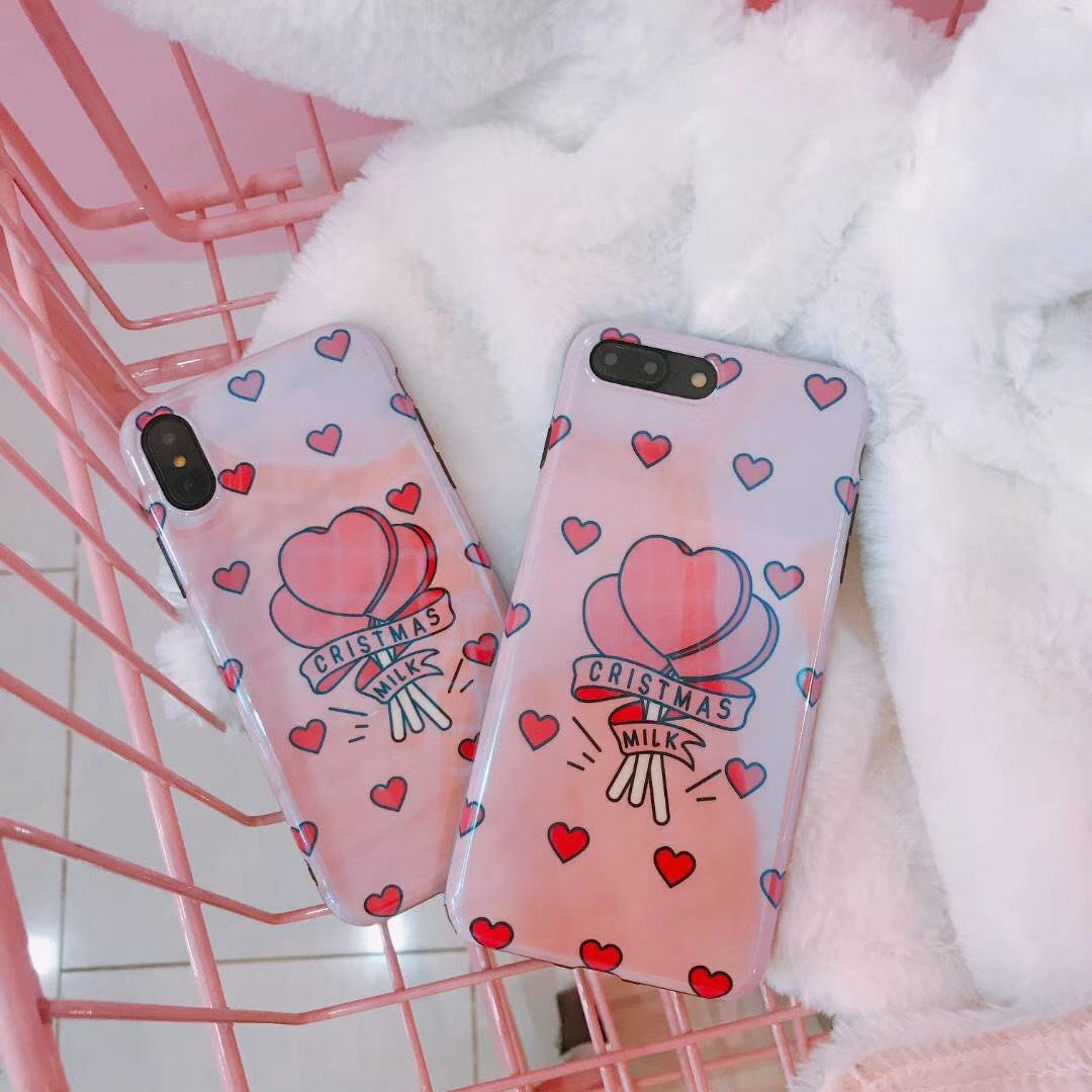 Apple X mobile phone shell small fresh love iPhone8plus pink girl heart 7P blue laser 6S female models soft
