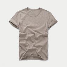 2019夏季男士短袖T恤圓領修身純棉潮男式T恤竹節棉純色打底衫定制