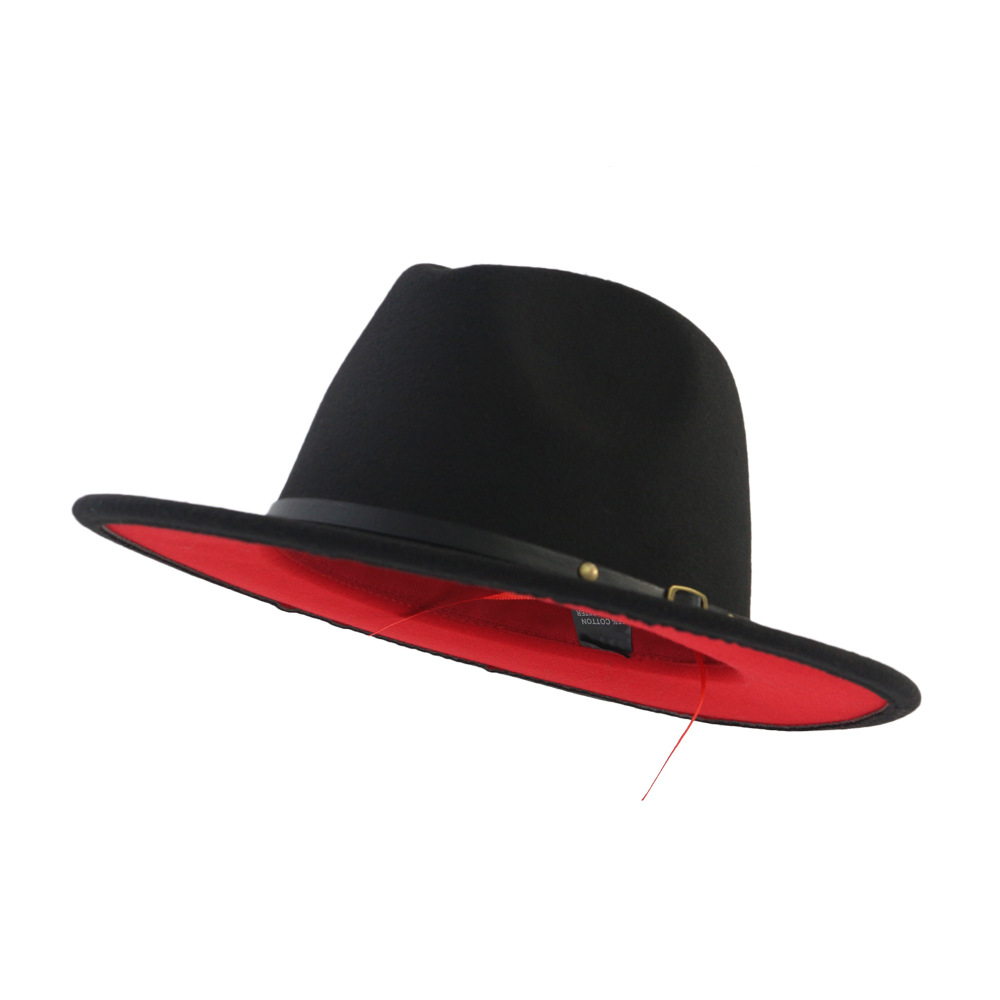 58b87273e30ed Unisex Flat Brim Wool Felt Fedora Hats With Belt Red Black Patchwork ...