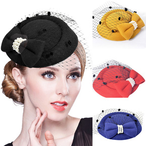 Party hats Fedoras hats for women Female headdress stewardess top hat hairpin headdress hat hairpin veil bud bow
