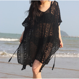Fashion trend V collar loose sun protection seaside vacation hollowed-out knitted beach skirt summer women's dress