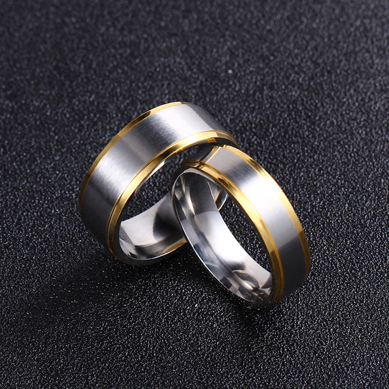 simple jewelry titanium steel simple couple ring stainless steel golden ring wholesale nihaojewelry NHIM234601