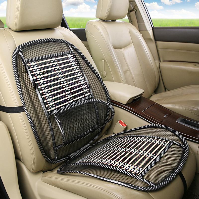 夏季汽车连体钢丝坐垫车载按摩竹丝靠垫家车两用透气腰靠钢丝座垫