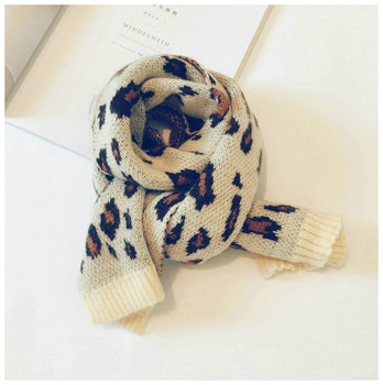 Leopard Toddler Knitted Scarf – Cream