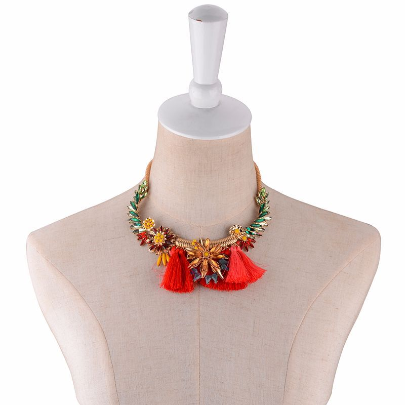 Alloy Fashion Flowers necklace(red) NHWF3248-red