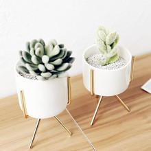 INS简约金属风格多肉花盆铁艺花瓶花架陶瓷水培花盆绿植花器套装