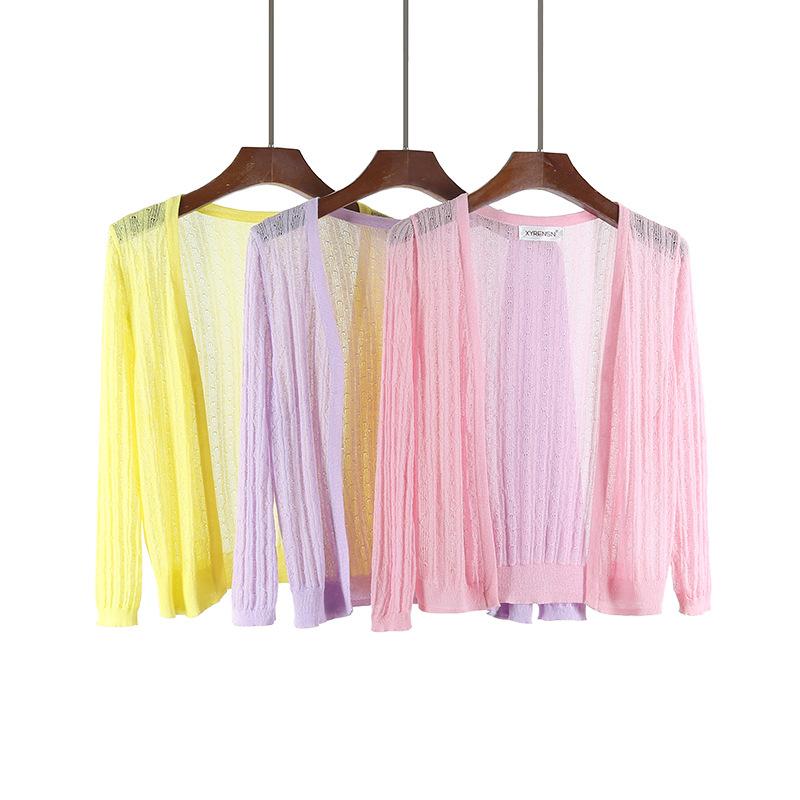 新款夏季开衫女薄款针织外搭短款披肩镂空坎肩七分袖上衣冰丝防晒