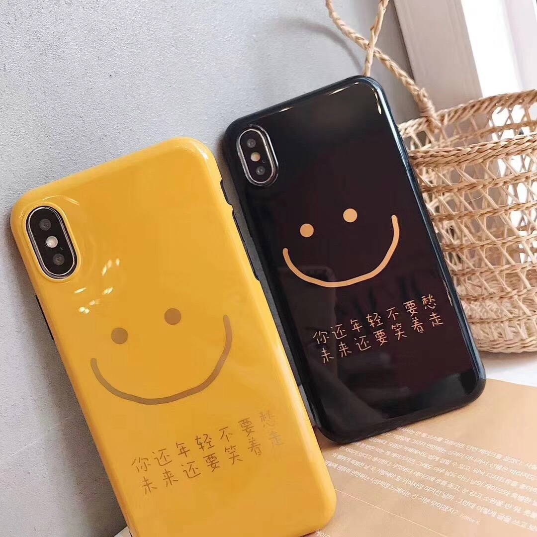 New Korean ins wind gilded smiley face iphoneX mobile phone shell creative text apple imd mobile phone case