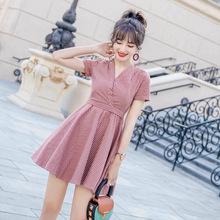 2019夏季新款韓版高腰顯瘦女裝小個子a字短裙蝴蝶結V領條紋連衣裙