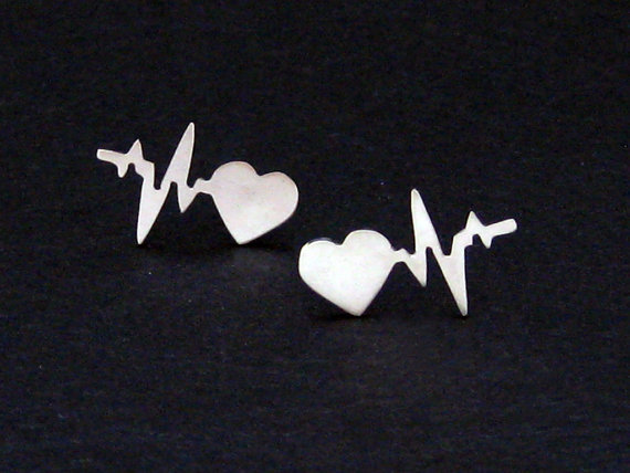 Simple new alloy plating ECG stud earrings NHCU149830