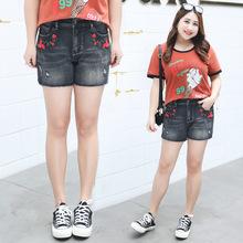 2018夏装新款胖妹妹加肥加大码女装韩版时尚高弹刺绣牛仔短裤N006