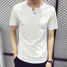 男式纯色短袖t恤 2018夏季新款韩版圆领纯棉半袖体恤男装学生上衣