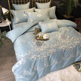 60 European-style light luxury sanding four-piece autumn and winter warm cotton cotton American embroidery 1.8m bedding