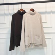 2018秋冬新款高領仿貂絨毛衣女韓版寬松可愛甜美口袋針織學生上衣