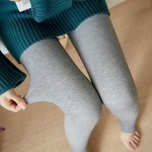 秋冬季螺纹棉竖条纹加绒加厚打底裤外穿踩脚保暖裤女士连脚一体裤
