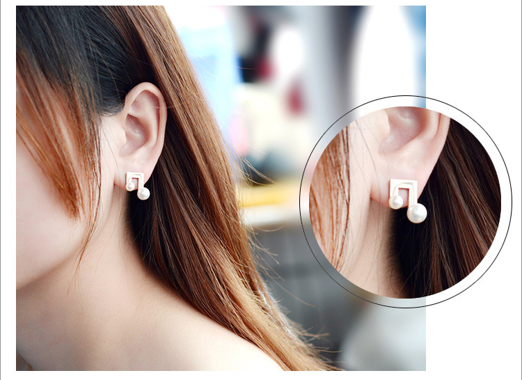 Womens U-shaped titanium steel Earrings NHOK125987