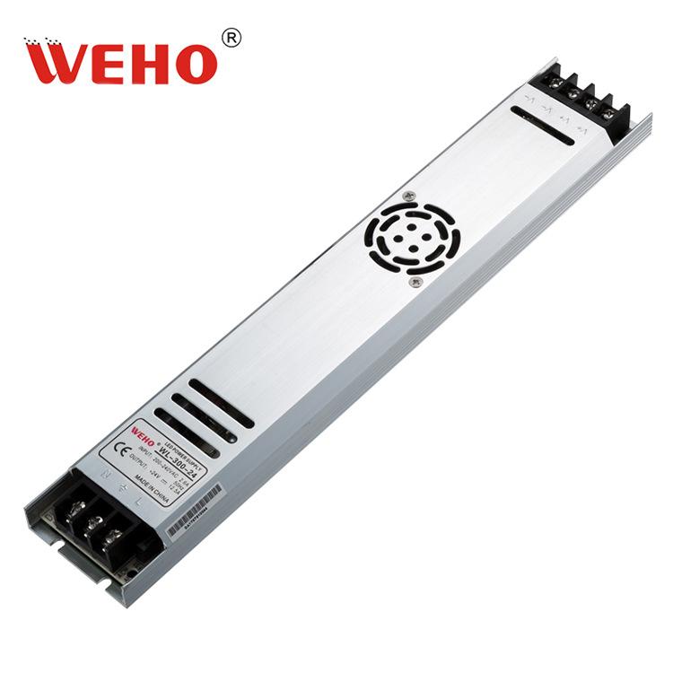 浙江伟豪300W长条形超薄24V电源12.5A电流直流稳压输出WL-300-24