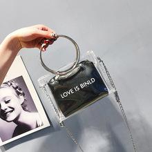 包包女2018新款韩版果冻印字透明圆环单肩斜跨小方包批发女包