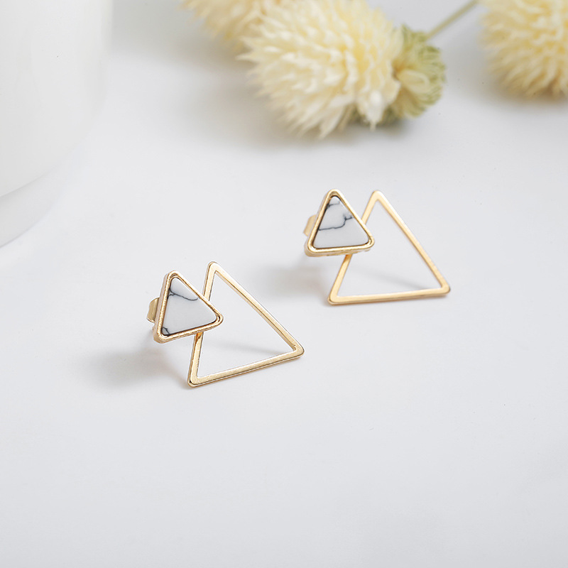 Simple geometric earrings short inverted triangle marble NHPF174925