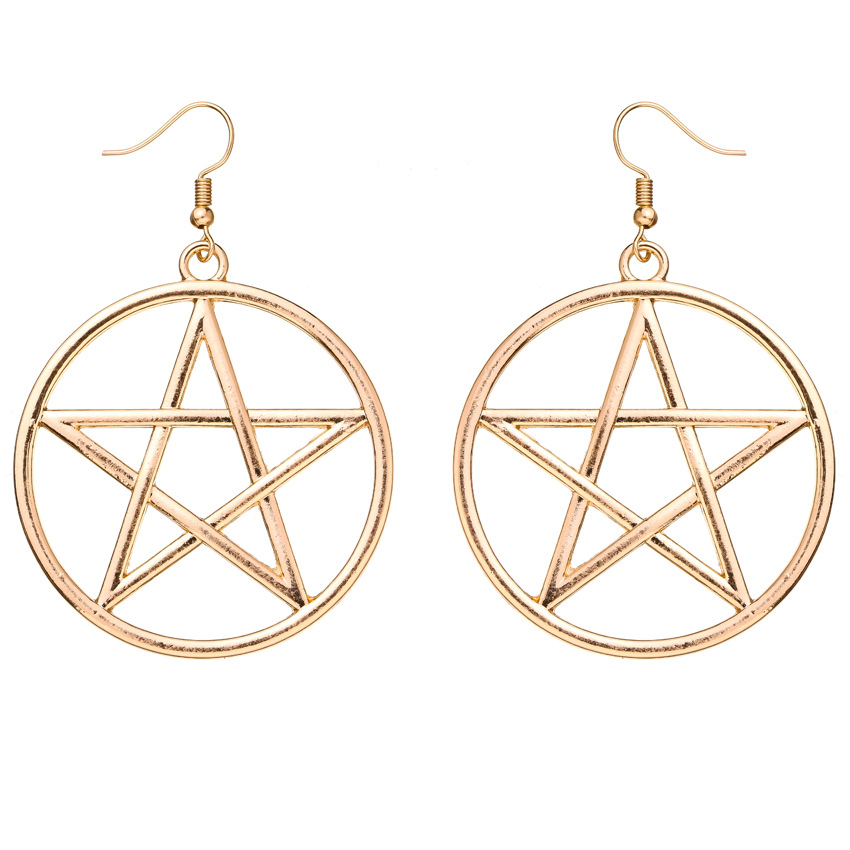 Fashion trend simple exquisite metal circle big fivepointed star sixpointed star earrings wholesale nihaojewelry NHOA236594