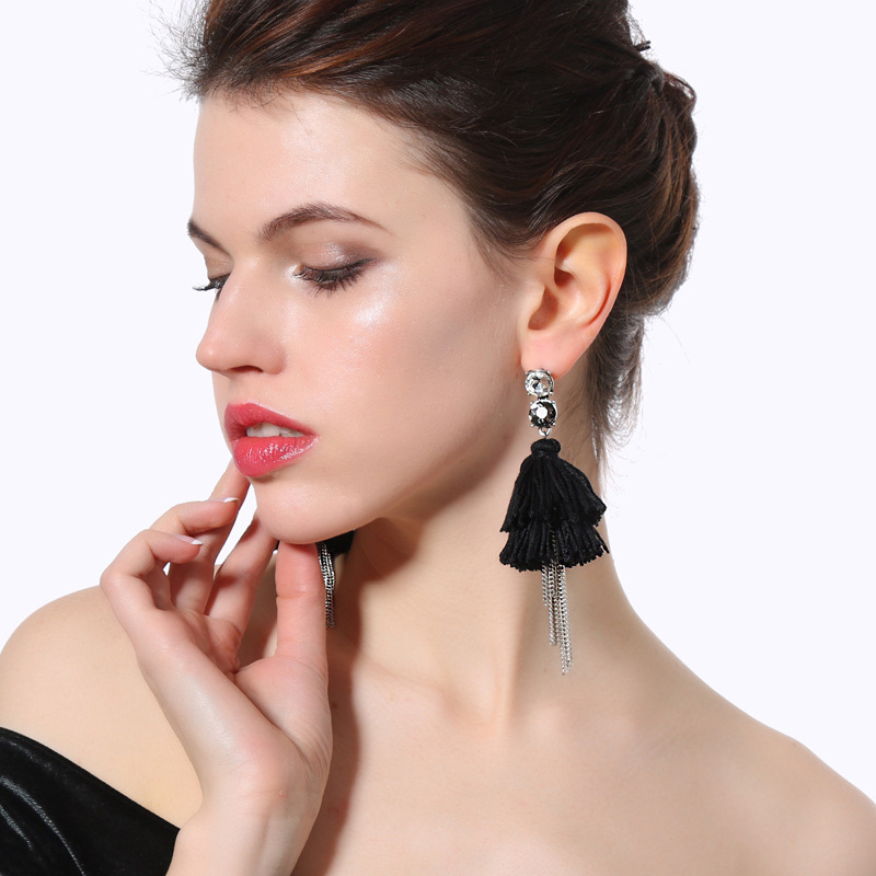 Alloy Fashion Tassel earring(Green-1) NHQD5166-Green-1
