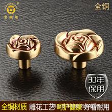 老铜匠欧式全铜圆形把手实心加厚衣橱柜门子抽屉拉手MJ081240