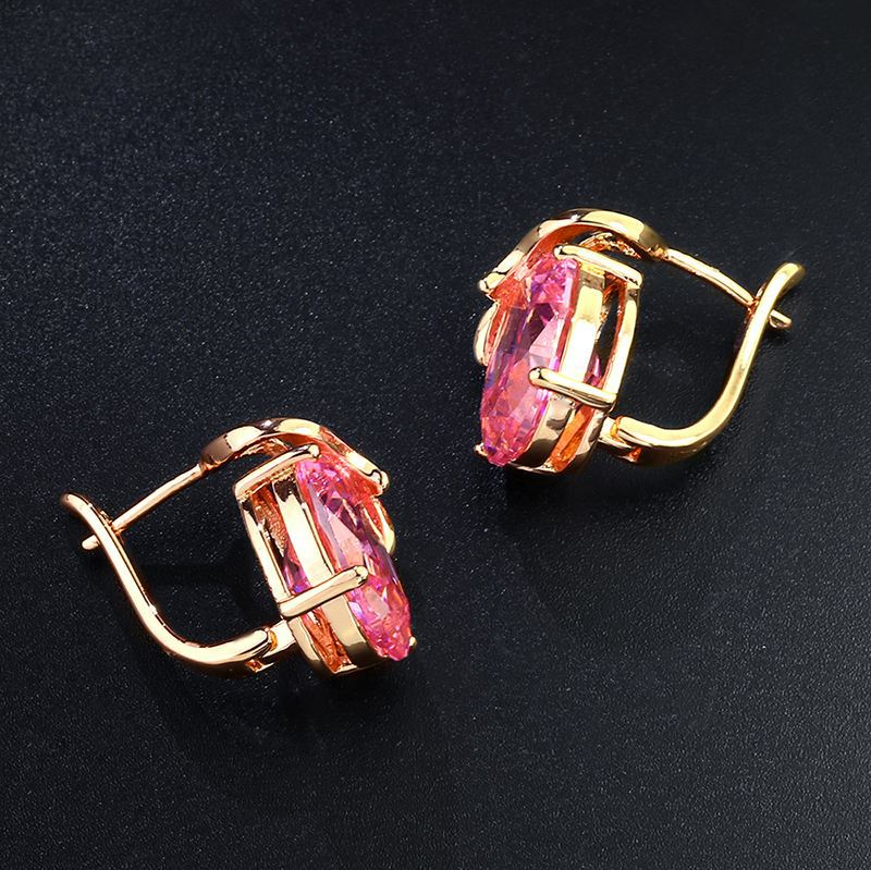 Copper Fashion Geometric earring  red  Fine Jewelry NHAS0333red