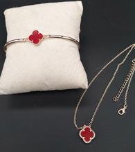 玫瑰金花朵鎖骨鏈黑色紅色花朵玫瑰金短款項鏈手鏈二件套飾品套鏈