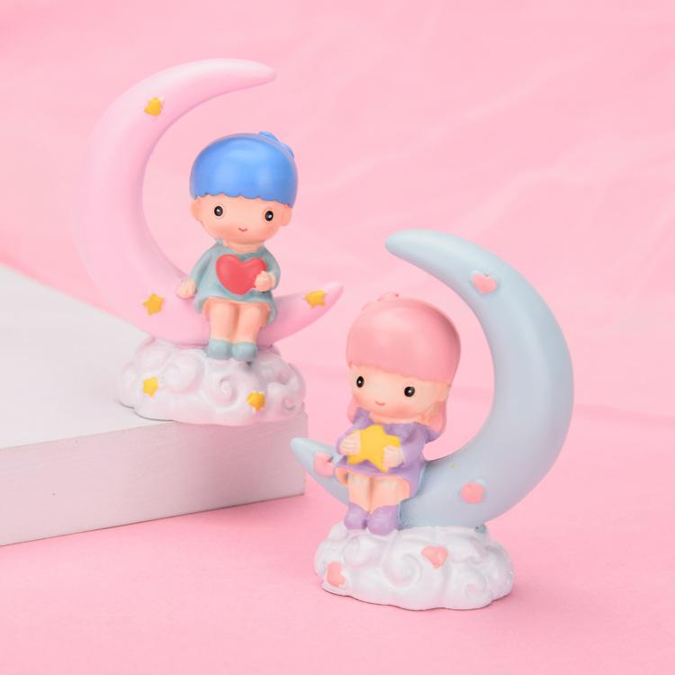 月亮小王子小公主双星子情侣蛋糕烘培装饰品儿童摆件汽车车载摆件